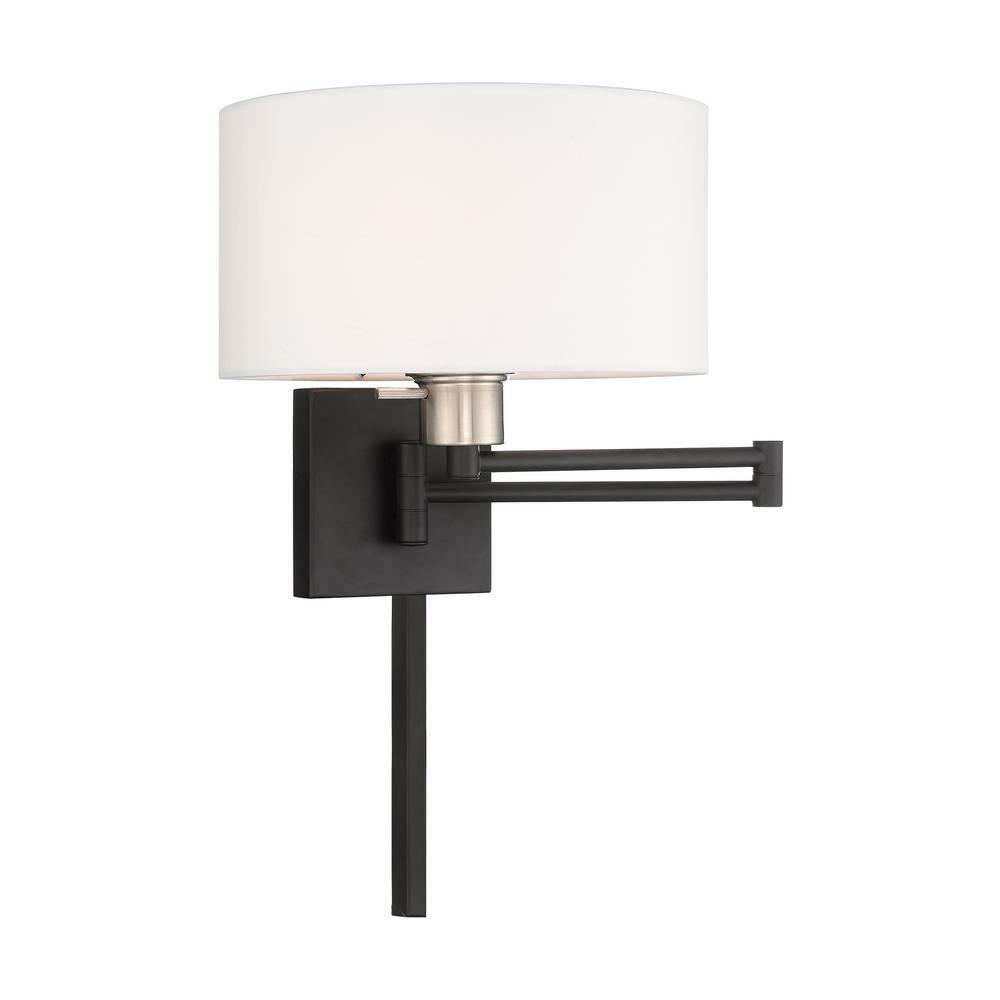 Swing Arm Wall Lamps 1 Light Black Swing Arm Wall Lamp