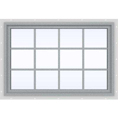 47.5 in. x 35.5 in. V-4500 Series Fixed Picture Vinyl Window with Grids in Gray