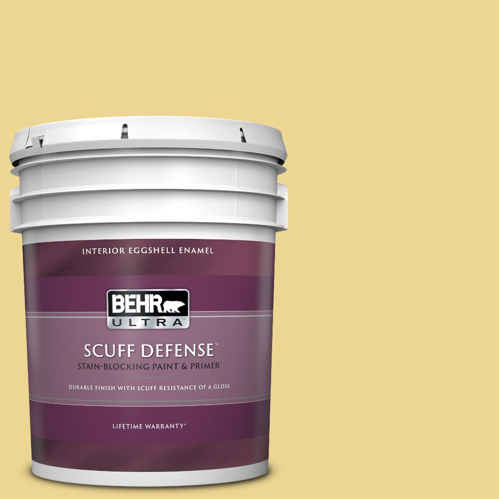 Behr Ultra 5 Gal 370d 4 Mustard Seed Extra Durable Eggshell Enamel Interior Paint Primer 275405 The Home Depot