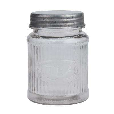 Clear Small Pressed Glass Tea Leaf Container with Galvanized Lid