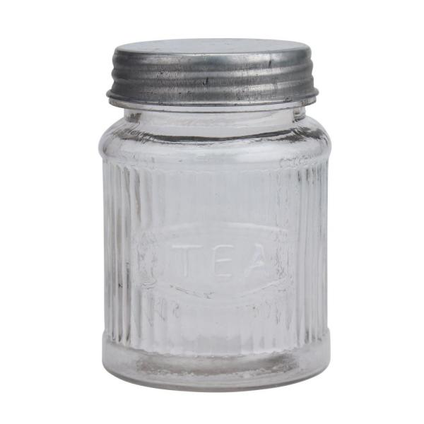 Clear Small Pressed Gl Tea Leaf Container With Galvanized Lid
