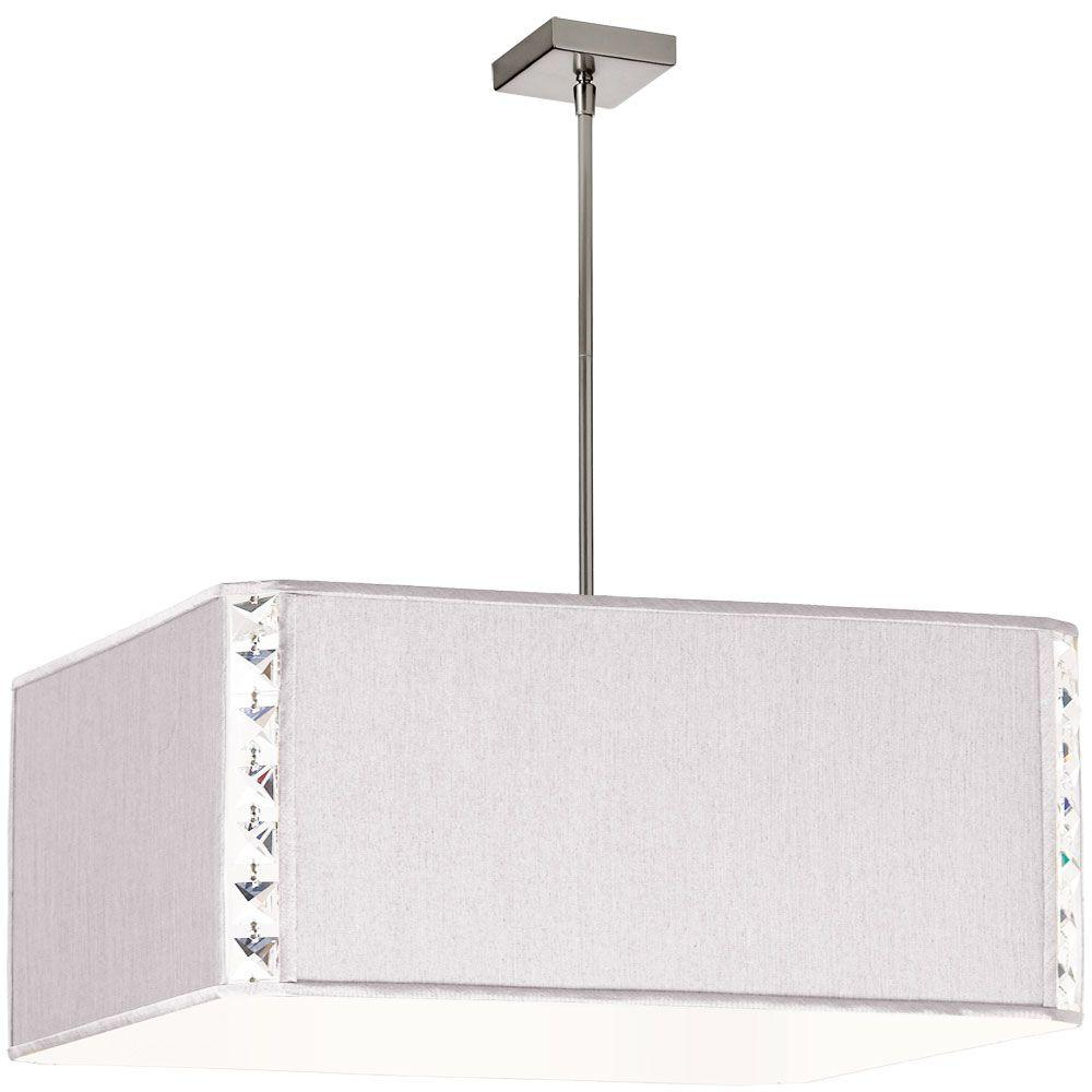 Radionic Hi Tech Elise 3-Light Pearl Square Pendant with Crystal Accents and Silk Glow Square Shade