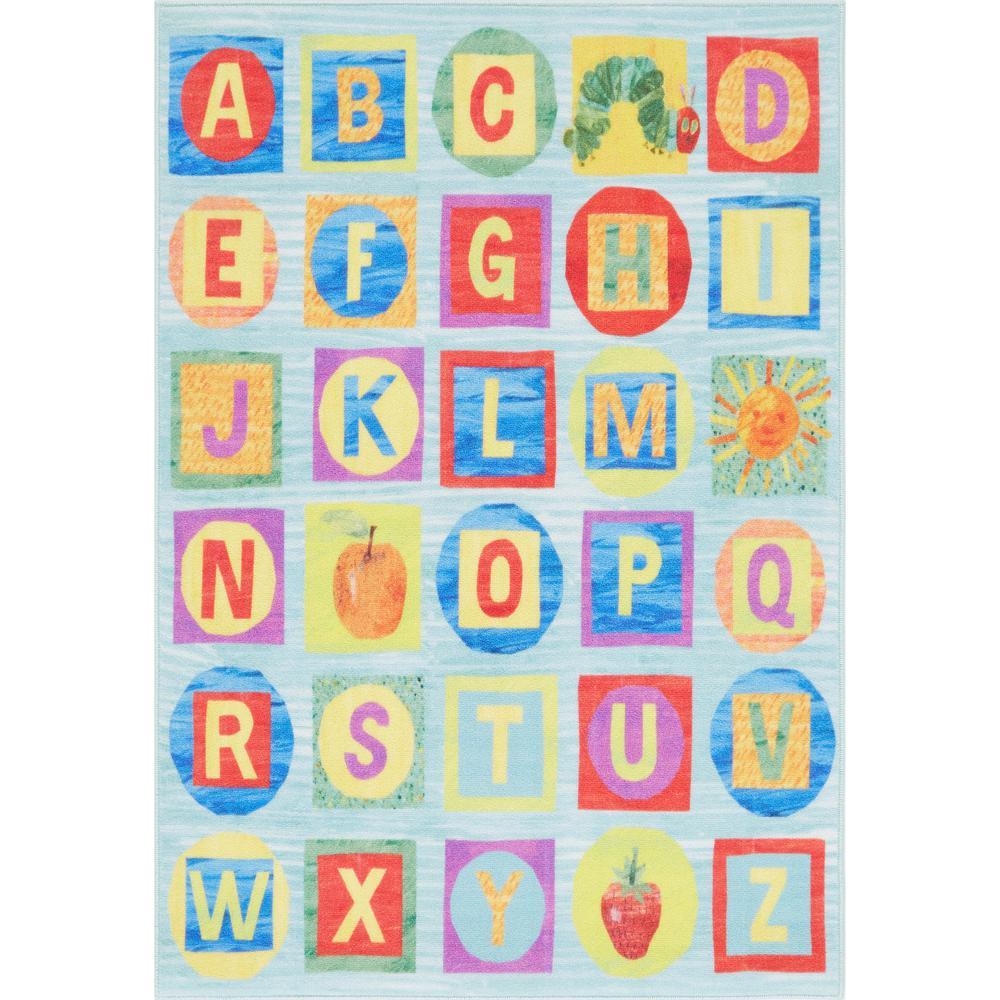 Elementary Alphabet Blue 4 ft. 11 in. x 6 ft. 6 in. Indoor Area Rug