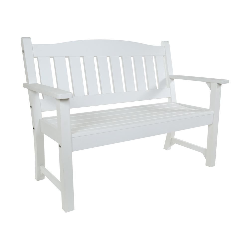 Shine Company Huntington Recycled Plastic Outdoor Bench White