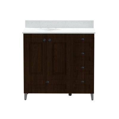 36 in. Metal Bathroom Vanity in Espresso with Iced White Engineered Marble Vanity Top with White Sink