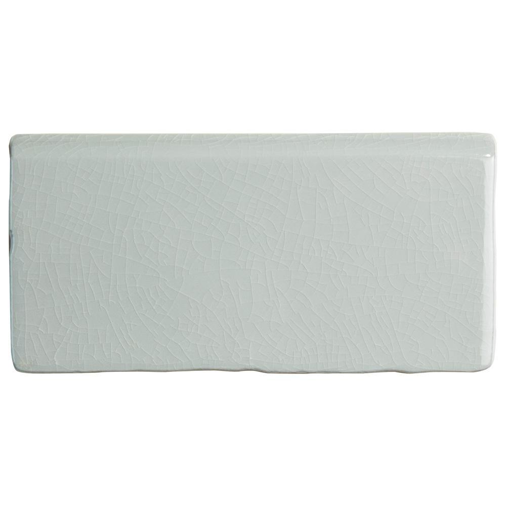 Merola Tile Antic Craquelle Gris Soho Bullnose 3 in. x 6 in. Ceramic Wall Trim Tile