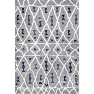 Almeta Moroccan Shaggy Grey 5 ft. x 8 ft. Area Rug