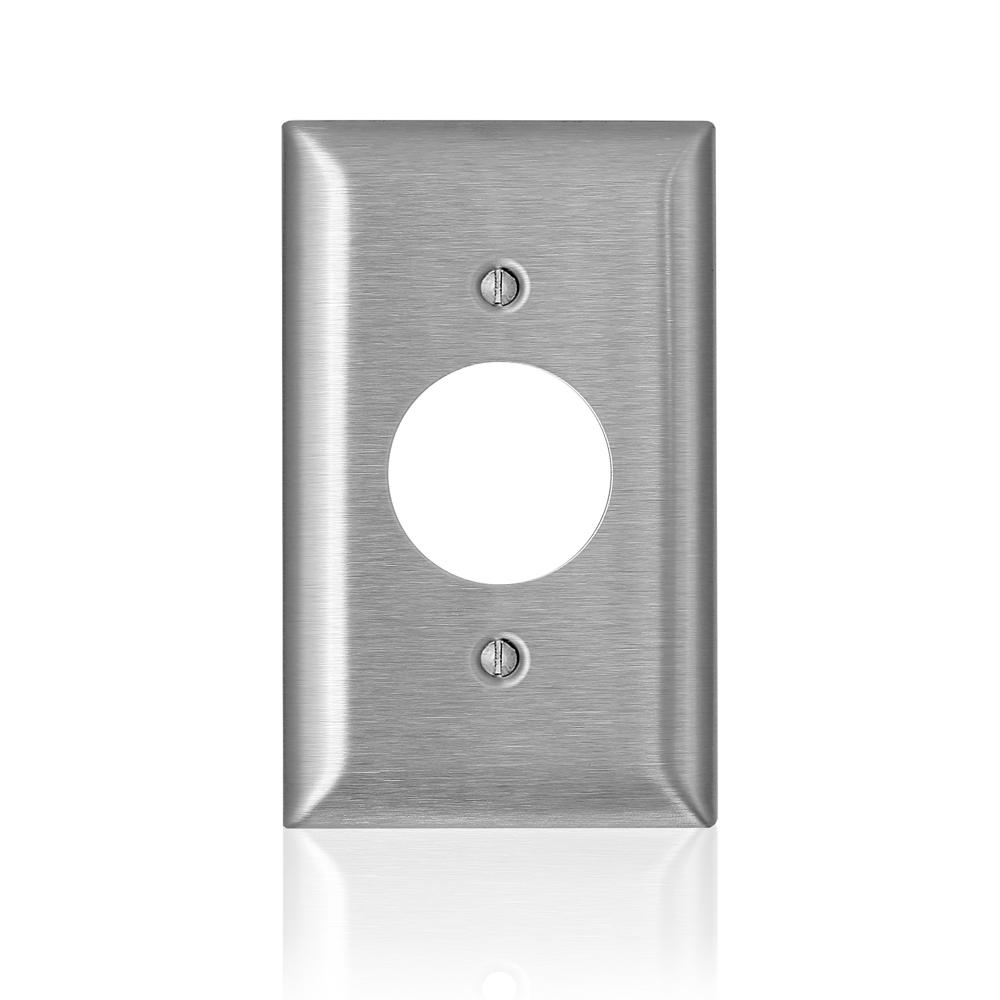 Leviton 1-Gang C-Series Single 1.406 in. Dia Opening Wallplate, Standard Size, Magnetic Stainless Steel, Silver