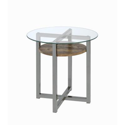 Janette Weather Oak, Black Nickel and Clear Glass End Table