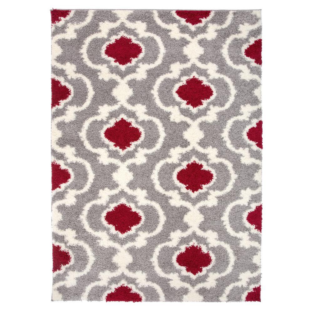 """Cozy Moroccan Trellis 2525 Red 63"""" X 87"""" Indoor Shag Area Rug"""
