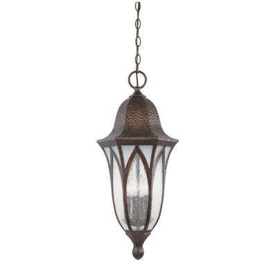 Charleston 4-Light Burnished Antique Copper Outdoor Hanging Lamp