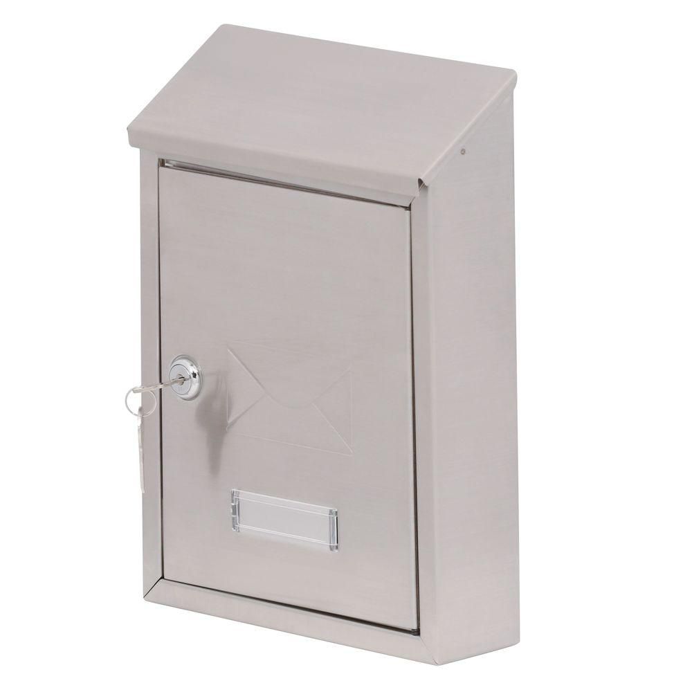 Gibraltar Mailbo Hudson Stainless Steel Decorative Engraving Vertical Locking Wall Mount Mailbox