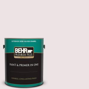 Behr Premium Plus 1 Gal 110e 1 Whimsical White Semi Gloss Enamel Exterior Paint And Primer In One 505001 The Home Depot