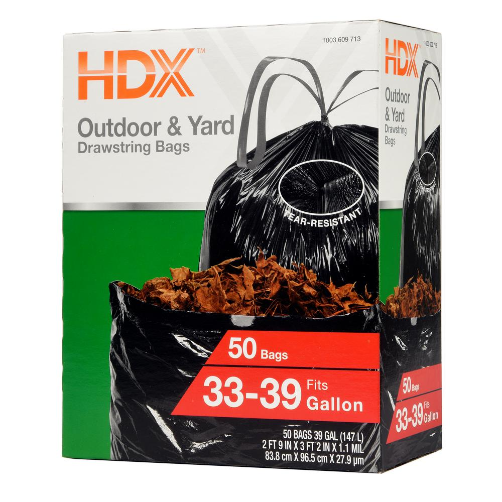 HDX 33 Gal. - 39 Gal. Black Drawstring Outdoor and Yard Trash Bags (50-Count)