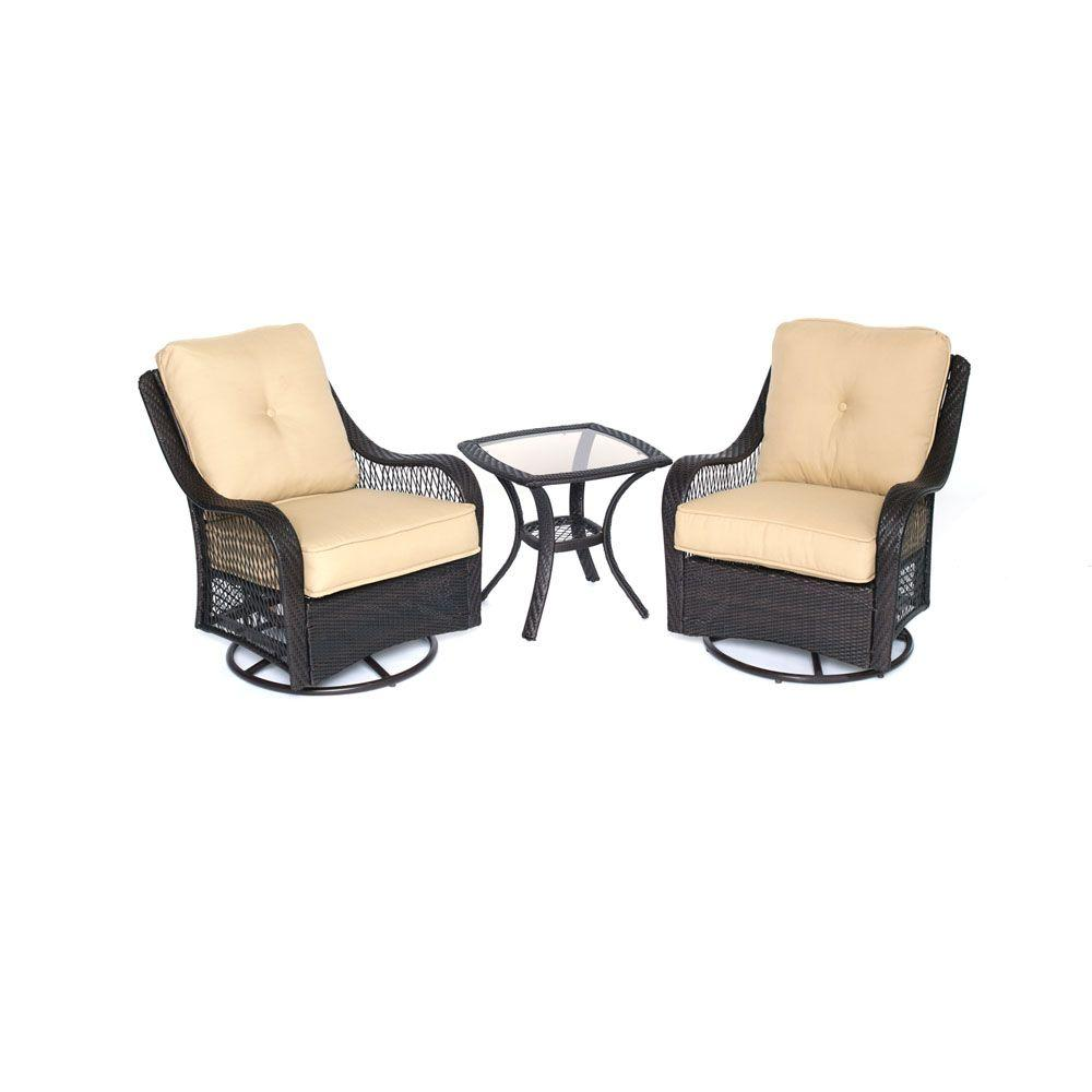 Hanover Orleans 3 Piece All Weather Wicker Patio Swivel Rocking Chat Set  With Sahara