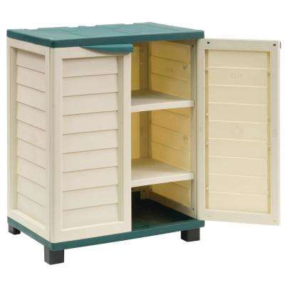 2 ft. 5.5 in. x 1 ft. 8 in. x 3 ft. Plastic Beige/Green Storage Cabinet with 2 Shelves