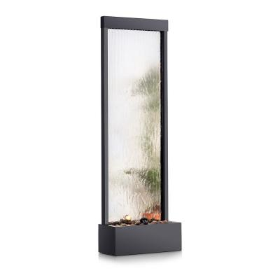 72 in. Tall Indoor/Outdoor Mirror Zen Waterfall Fountain with Stones and Lights, Silver
