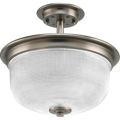 Archie Collection 2-Light Antique Nickel Semi-Flushmount