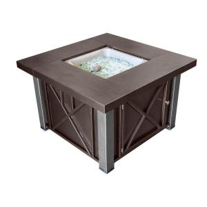 38 in. Decorative Steel Firepit in Bronze/Stainless Steel