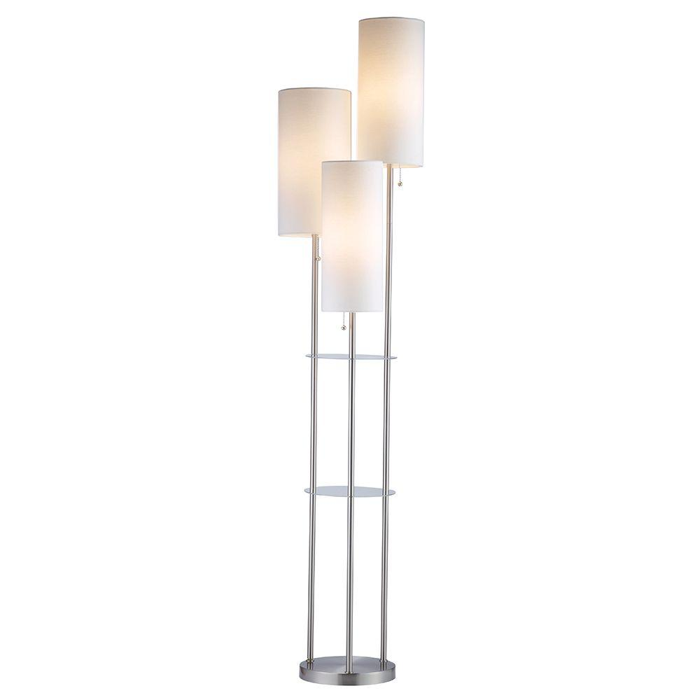 Adesso trio 68 in steel floor lamp 4305 22 the home depot steel floor lamp mozeypictures Images