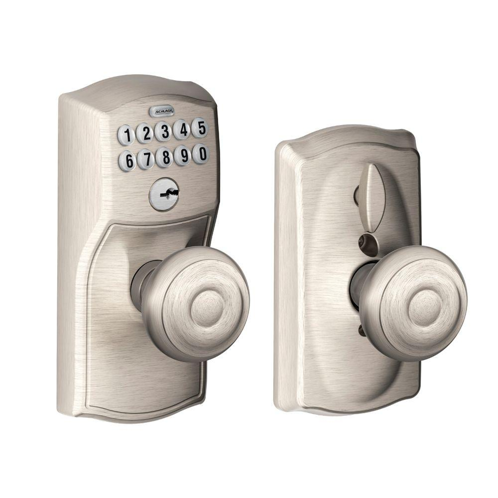 Schlage Camelot Satin Nickel Electronic Door Lock with Georgian Door Knob Featuring Flex Lock