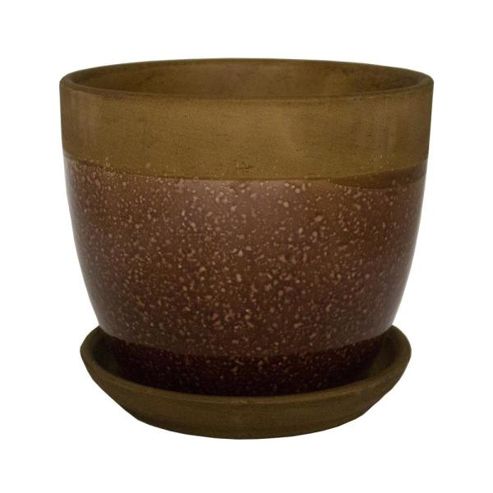 8 in. Dia Brown Geode Ceramic Planter