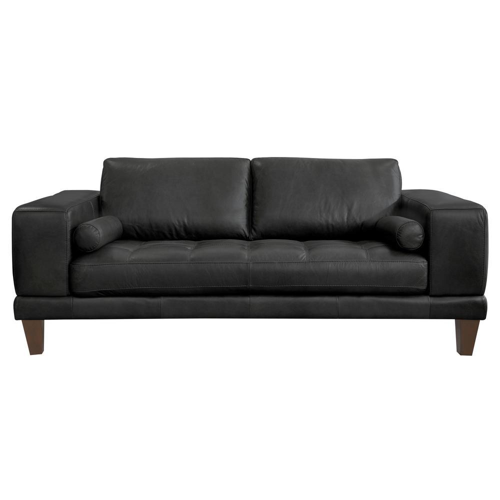 Armen Living Genuine Black Leather Contemporary Loveseat Brown Wood Legs