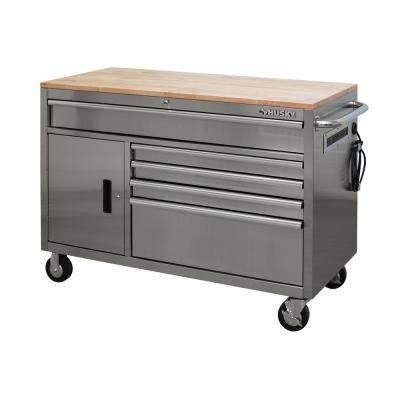 52 in. 5-Drawer 1-Door Mobile Workbench with Sold Wood Top, Stainless Steel
