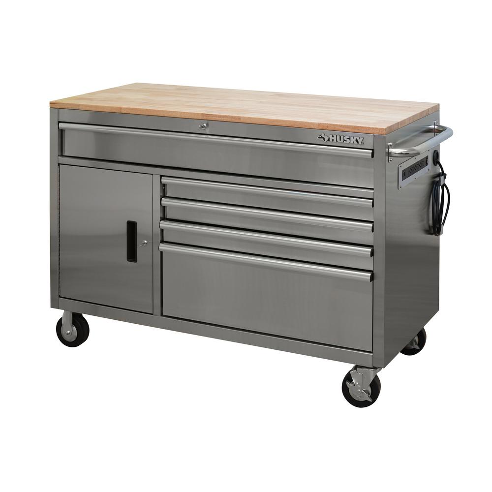 Husky 52 in. W 5-Drawer 1-Door, Deep Tool Chest Mobile Workbench in Stainless Steel with Hardwood Top