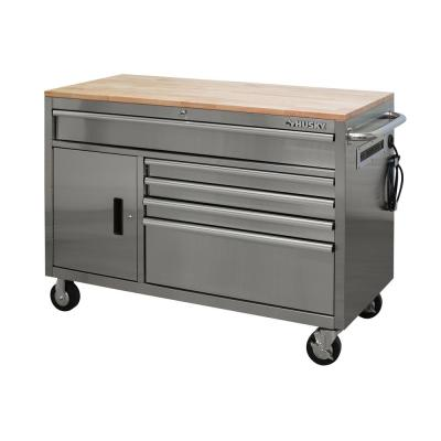 52 in. W 5-Drawer 1-Door, Deep Tool Chest Mobile Workbench in Stainless Steel with Hardwood Top