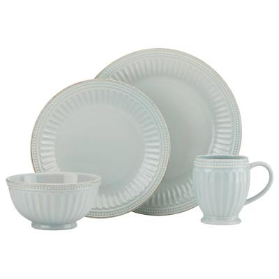 French Perle Groove 4-Piece Ice Blue Dinnerware Set