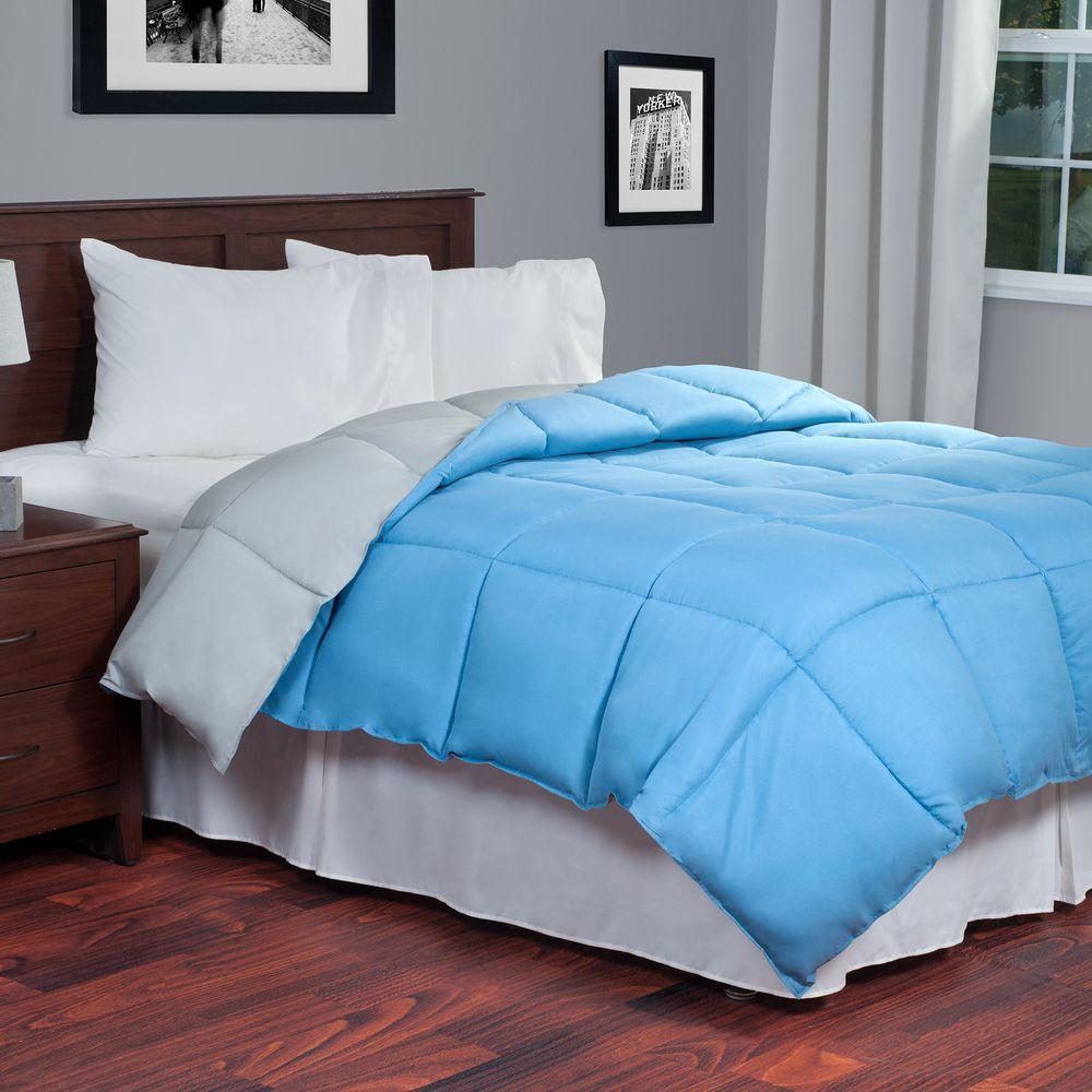Reversible Blue/Grey Down Alternative Queen Comforter