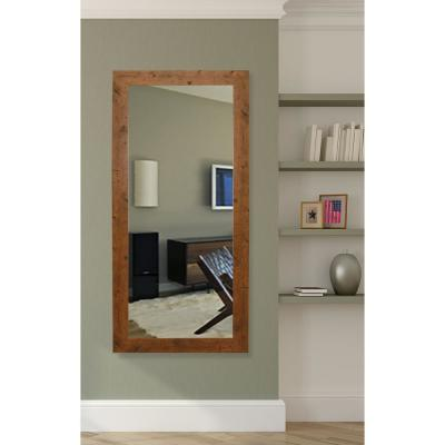 25 in. W x 60 in. H Framed Rectangular Bathroom Vanity Mirror in Light Brown