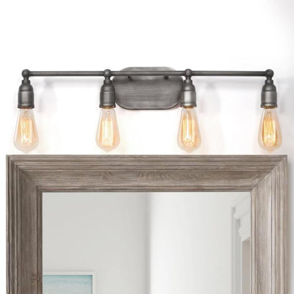 Modern Industrial Bathroom Vanity Light Grove 4-Light Brushed Gray Iron Vanity Light with Rustic Water Pipe Design