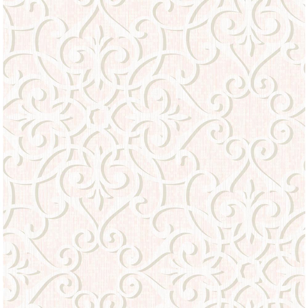 Jasper Metallic Silver And Pink Diagonal Ironwork Wallpaper