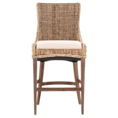 Greco 30 in. Gray Kubu, Saddle Brown Mahogany Bar Stool (Set of 2)