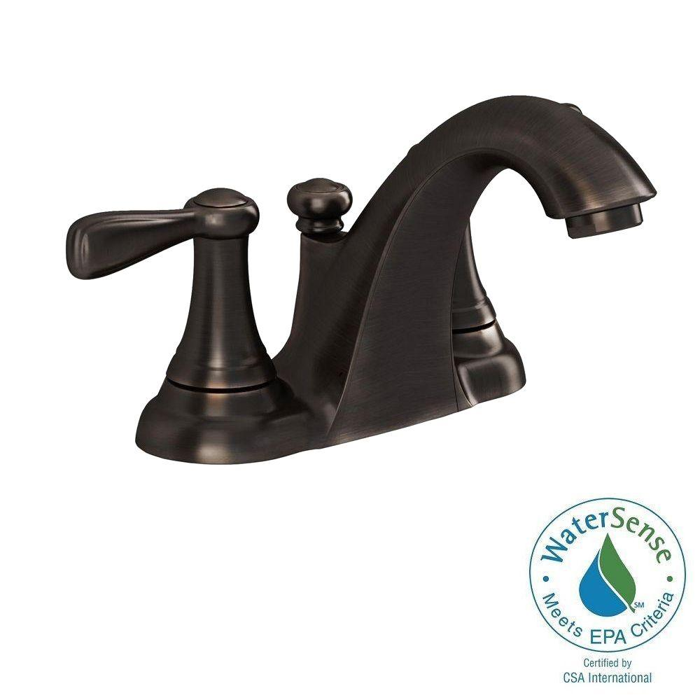 Marquette 4 in. Centerset 2-Handle Low-Arc Bathroom Faucet in Estate Bronze