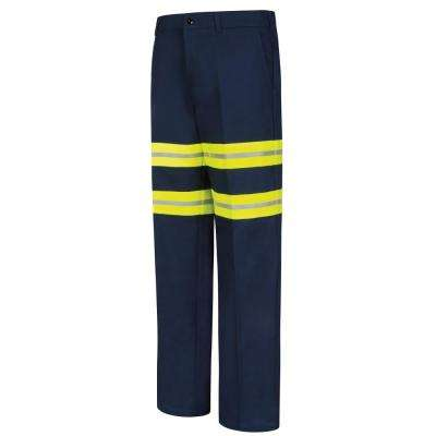 Men's 44 in. x 32 in. Dark Navy with Refective Trim Red Kap Enhanced Visibility Cotton Work Pant