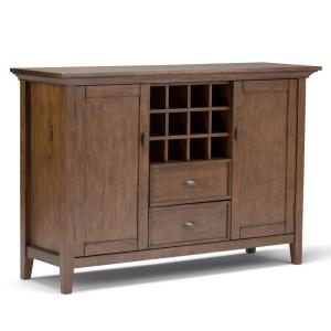 Redmond Solid Wood 54 in. Wide Rustic Sideboard Buffet Credenza and Winerack in Rustic Natural Aged Brown