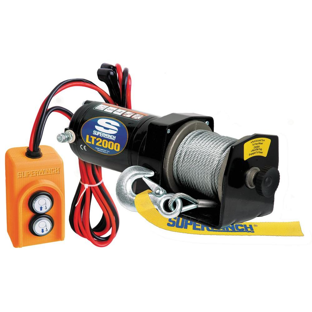 Superwinch LT2000 12-Volt DC Utility Winch with Free-Spooling Clutch and 8  ft