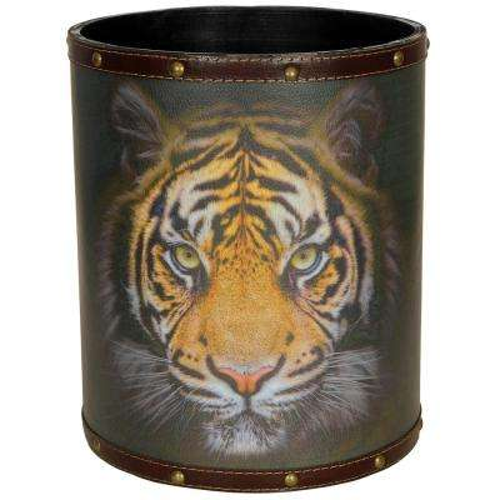 Oriental Furniture 8.25 in. x 10 in. Bengal Tiger Waste Basket