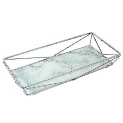 Marble Agate Design Geometric Vanity Tray in Chrome