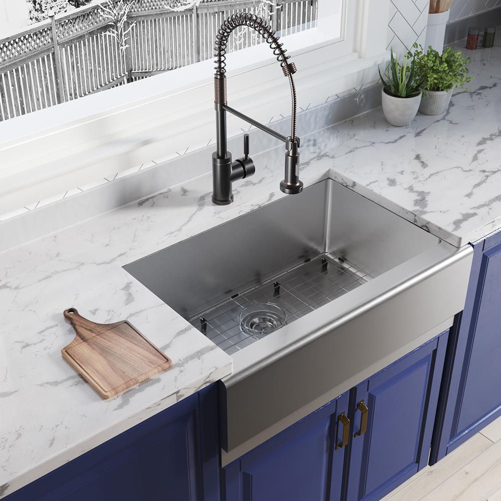 Farmhouse Apron Front Stainless Steel 29-7/8 in. Single Bowl Kitchen Sink Kit