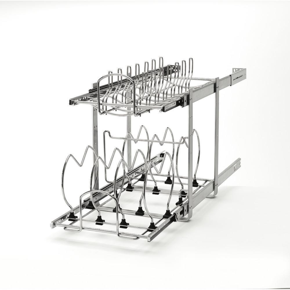 18 in. H x 11.75 in. W x 22 in. D 10 Qt. Pull-Out 2-Tier Base Cabinet Cookware Organizer