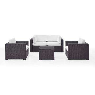 Biscayne 4-Person Wicker Outdoor Seating Set with White Cushions 2-Armchairs, 2-Corner Chair and Coffee Table