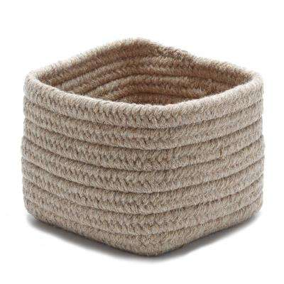 Natural 11 in. x 11 in. x 8 in. Wool Storage Basket in Dark Gray