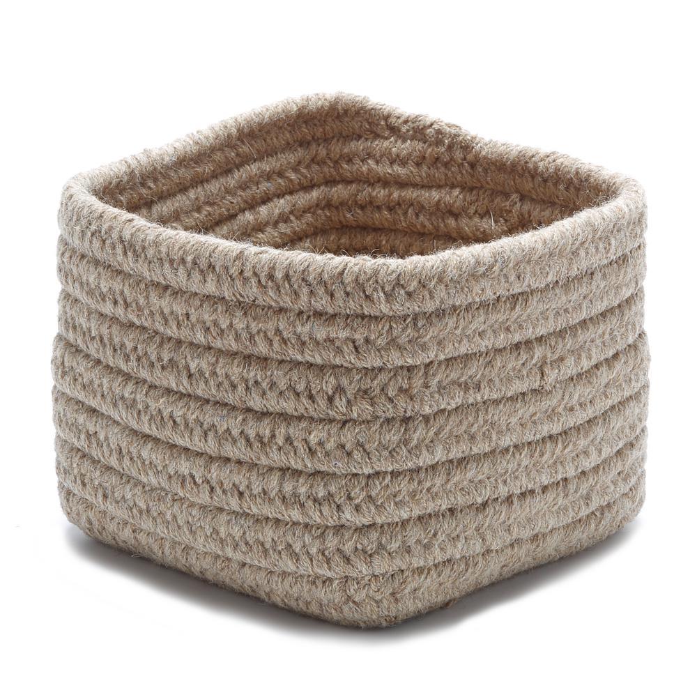 Natural 11 in. x 11 in. x 8 in. Wool Storage Basket in Dark Gray
