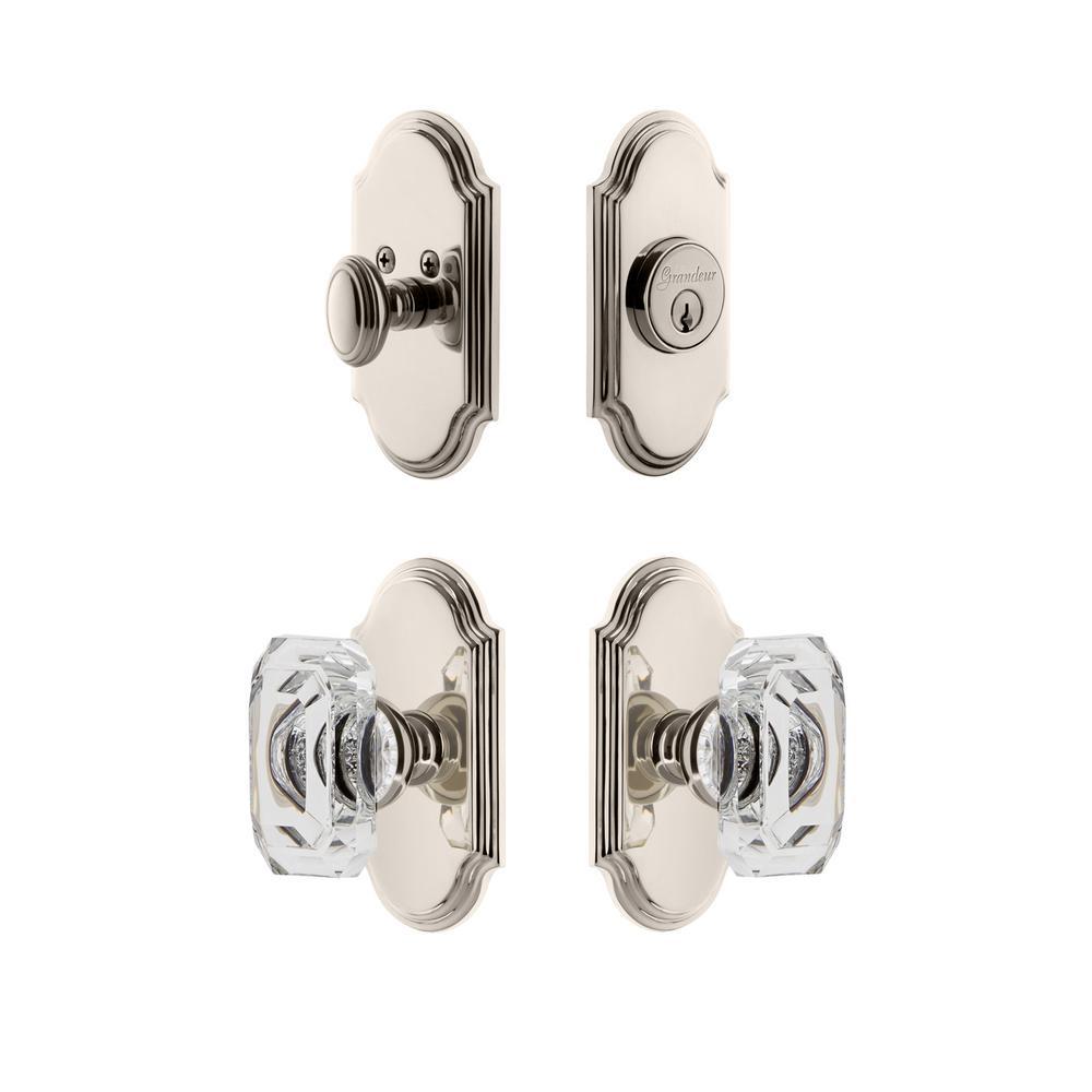 Arc Plate 2-3/8 in. Backset Polished Nickel Baguette Crystal Door Knob with Single Cylinder Deadbolt
