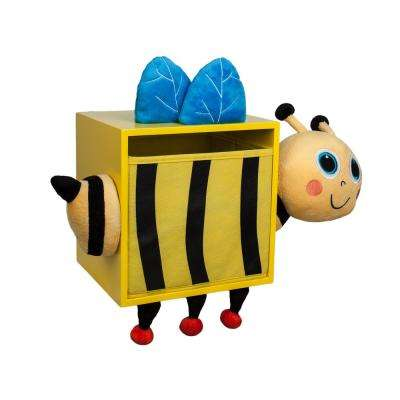 Kiddie 19 in. W x 15 in. H Yellow Plush and MDF Bee Kids Wall Storage Bin with Removable Bin
