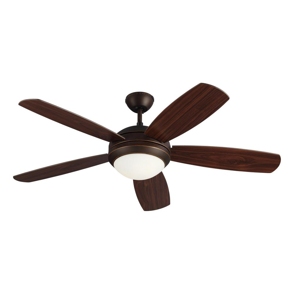 Monte Carlo Discus ES 52 in. Indoor Roman Bronze Ceiling Fan with Light Kit